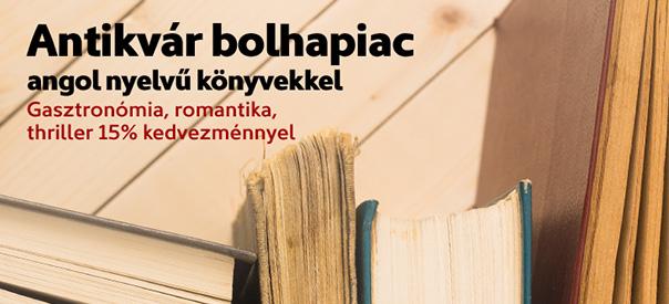 Antikvár bolhapiac angol nyelvű könyvekkel