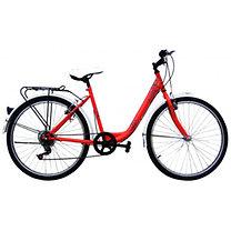 Kalocsai mintás U-vázas női kerékpár, piros