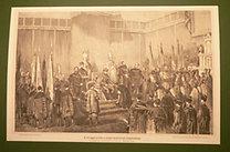 Koronázási Emlékkönyv (Falk -Dux): A lovaggá avatás a budai helyőrségi templomban